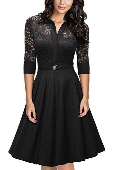 Lace Vintage Half Sleeve Women Swing Dress LLM3016