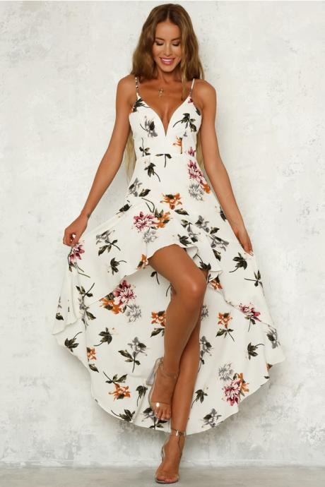He Said She Said Floral Maxi Dress White LLM3069