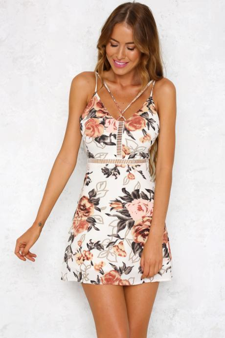 Beige Floral Hollow Out Mini Summer Dress LLM3088