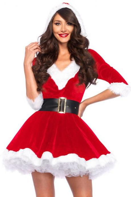 Party performance costume christmas halloween cosplay red dress velvet fabric costumes for women